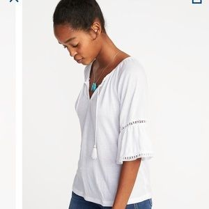 Jersey Bell-Sleeve Top - White